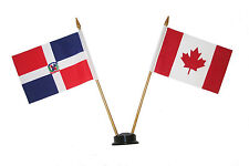 "CANADA & DOMINICAN REP. 4""X6"" DOUBLE STICK FLAG WITH BLACK STAND ON 10"" PL.POLE"
