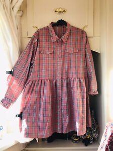 BOOHOO WARM TEA PINK GREY CHECK PRINT OVERSIZED SMOCK SHIRT DRESS SIZE 24/26 VGC