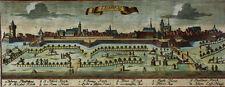 SACHSEN LEIPZIG ALTSTADT KOLORIERT MERIAN PRÄCHTIG ORIGINALER KUPFERSTICH 1660
