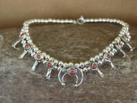Native American Jewelry Sterling Silver Coral Squash Blossom Bracelet
