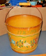 """ANTIQUE WOOD STAVE WATER BUCKET HAND PAINTED A YANKEE DOODLE 10"""" H X 12.5"""" D"""