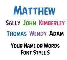 Custom Personalised Name or Words 1 Line Wall Art Vinyl Sticker Decal Black