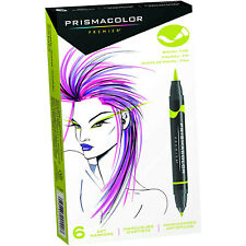 Prismacolor Premier Double-Ended Art Markers, Fine and Brush Tip, 6-Count