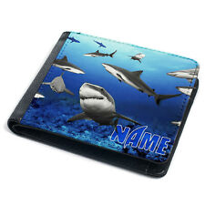 Shark Wallet Mens Bi Fold Coin Card Holder Great White Personalised Gift ST851