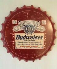 Budweiser Tin Beer Bottle Cap Sign Vintage Man Cave New Bar Office King Of Beers