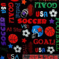 BonEful FABRIC Cotton Quilt Flannel Sport Word Soccer Football Basket*ball SCRAP