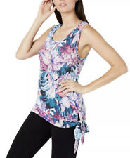 Ideology Women's Hibiscus Printed Side-Tie Tank Top Multi Size Small