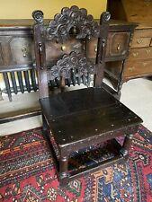 More details for antique oak 17th century yorkshire 'mortuary' chair w / charles 1st portrait