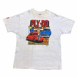 Ply-Do Delbarton The Best In Mopar Parts Tshirt   Vintage 90s Cars White VTG
