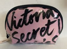 NWT VICTORIA'S SECRET Cosmetic Make Up Pouch Bag Pink Black Logo