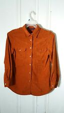 DOROTHY PERKINS SUEDED POLYESTER PEARL SNAP WESTERN WOMEN'S ORANGE L/S SIZE 10