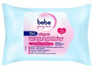 2 Pack bebe Young Care 5 in 1 sensitive & dry skin nourishing Eye and Face Wipes