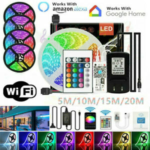 5/10/15/20M 5050 SMD RGB LED Strip Light & WiFi /Phone Control & Power Plug Kit