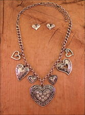 Heart Bright Crystal Antiqued Silver Heart Charms Necklace Set