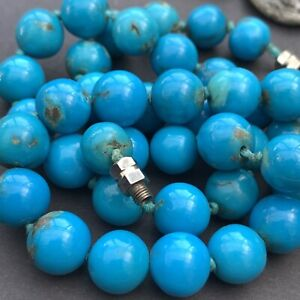 Chinese Export Robins Egg Blue Turquoise Bead Stone Vintage Sterling Silver
