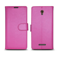 Plain Pink Leather Wallet Book Protect Phone Case for Apple iPhone 4 5 6 7 8 & X HTC HTC One A9s (2016 / 2017 Edition)