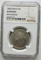 1900 Straits Settlement Silver 50 Cents XF Details Rim Damage