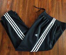 Men's Adidas Black w/ White Stripes Track Warm Up Pants Sz. Small