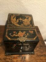 Vintage Asian Chinese Dragon Phoenix Folding Mirror Lacquer Wood Jewelry Box