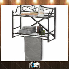 2 Tier Home Bath Wall Mount Storage Towel Rack Foldable No Tools Required Bronze