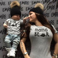 😍😍 Mum and Baby Matching Bear Clothes T-shirt Gift for New Mum New Born Baby