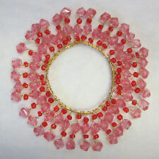 11cm Decorative Beaded Candle Ring Metal & Gold Wired Bead In Pink Red Beads