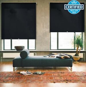 iFit Cut-to-Size Cordless Room Darkening Polyester Fabric Roller Shade -Black