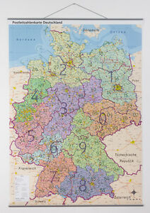 Postleitzahlen Wand Karte PLZ Deutschland, Laminierung & Metallleisten, A0