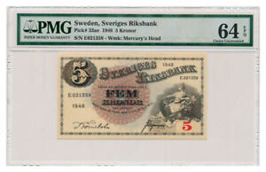 SWEDEN banknote 5 Kronor 1952 PMG MS 64 EPQ Choice Uncirculated