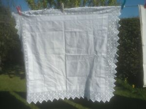 "GORGEOUS WHITE ON WHITE HAND EMBROIDERED  TABLECLOTH 39"" X 38"" WITH LACE EDGE"