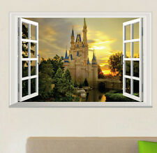 3D Castle Tower Window View Wall Stickers Art Vinyl Decal Decor Mural LY07