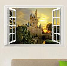 DIY 3D Window View Art Vinyl Wall Sticker Decal Home Decor Mural Castle Tower