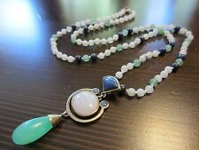 RARE VTG Chinese 925 Sterling Signed JADE AGATE LAPIS Pendant Knotted Necklace