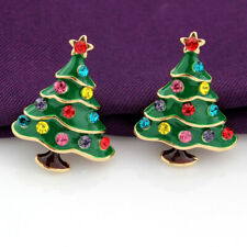 Betsey Johnson Rhinestone Green Enamel Christmas Tree Women's Ear Stud Earrings