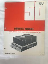 MCINTOSH MC 50 POWER AMPLIFIER ORIGINAL OWNER'S MANUAL WITH EXTRA PICTURE M083x