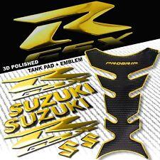 "CHROMED GOLD PRO GRIP FUEL TANK PAD+6""3D SUZUKI LOGO+GSXR FAIRING EMBLEM STICKER"