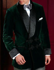 Men Green Quilted Smoking Jacket Elegant Stylish Designer Party Wear Blazer Coat
