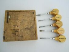 VINTAGE USED LOT SET OF 5 MILLERS FALLS HAND PALM CHISELS GUN CHECKERING ?? NR