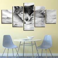 Romantic Couple Love Wolves 5 Pieces Canvas Art HD Print Picture Home Wall Decor