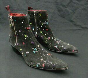 JEFFERY-WEST 'MUSE' Black Suede SYLVIAN Paint Splattered pointy zip Boot UK 8