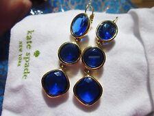 "Kate Spade RARE LINEAR sapphire blue baubles ""Big Time"" Earrings COBALT Blue"