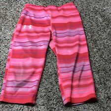 Under Armour Striped Running Capris YMD  Girls Medium Fitted Pink