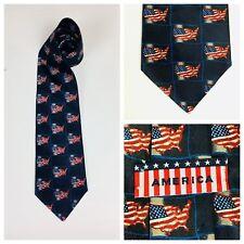 América Corbata Corbata Bandera Americana Estrellas Rayas Azul Marino R72A