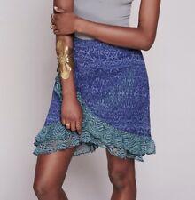 Free People Skirt NWT $98 Around The World Blue Green Ruffle Boho Layer Size 4