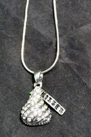 Rhinestone Crystal HERSHEY KISSES PENDANT silver snake chain NECKLACE