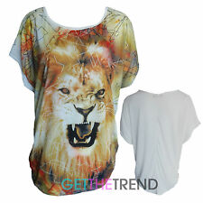 Womens Animal Print Batwing Top Ladies Lion Face Plus Size Top Tops