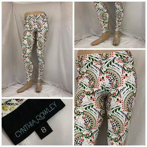Cynthia Rowley Stretch Pants Sz 8 White Floral Poly Lycra Made USA YGI R1-456