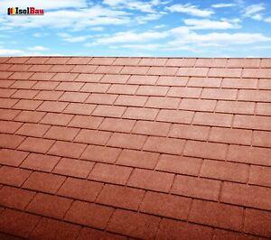 Dachschindeln 3 m? Rechteck Form Ziegelrot (21 Stk) Schindeln Dachpappe Bitumen