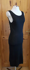 black knitted stretch beaded sequin sleeveless midi evening party dress S8-10 36