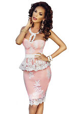 Pink Floral Lace Nude Illusion Peplum Party Evening Club Wear Dress Size UK 8-10